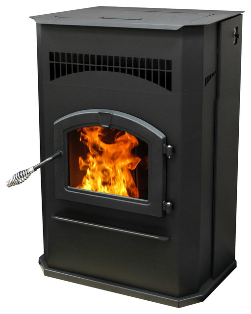 Cabinet Pellet Burning Stove With LED Comfort Control System - Traditional - Freestanding Stoves ...