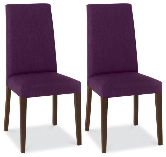 Bentley Designs Miles Walnut Dining Chair Plum Taper