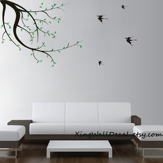 decals wall stickers branches with flying birds wall art wall design kids room w modern