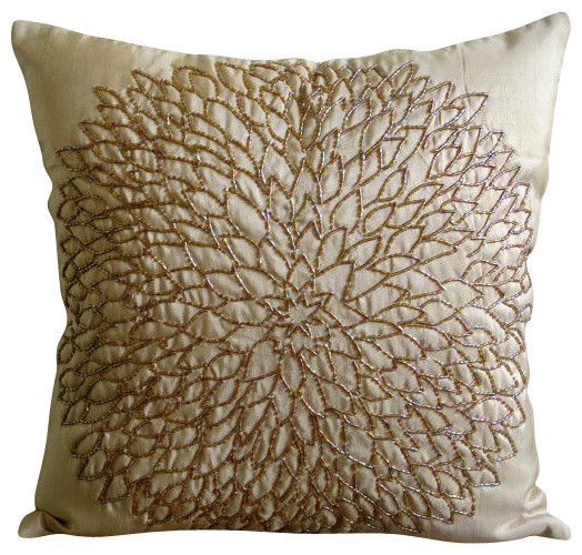 Gold Silk Decorative Pillow : Gold Blossomings Decorative Silk Throw Pillow Cover, 14x14 - Traditional - Decorative Pillows ...