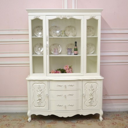 White China Cabinet with Rose Details - Rustic - China Cabinets And Hutches - los angeles - by ...