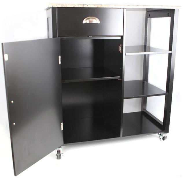Khome Black Finish Wood & Marble Vinyl Top Kitchen Storage ...