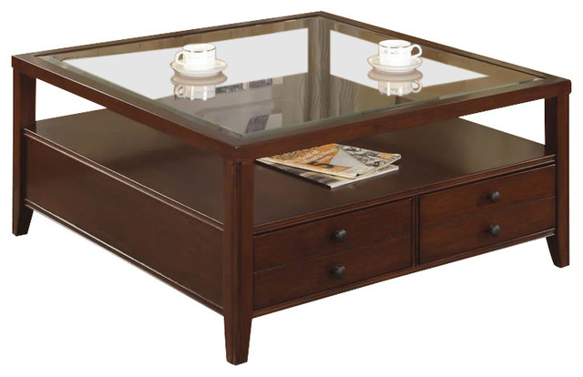 Riverside Furniture Avenue Square Cocktail Table In Dark Cherry Transitional Coffee Tables