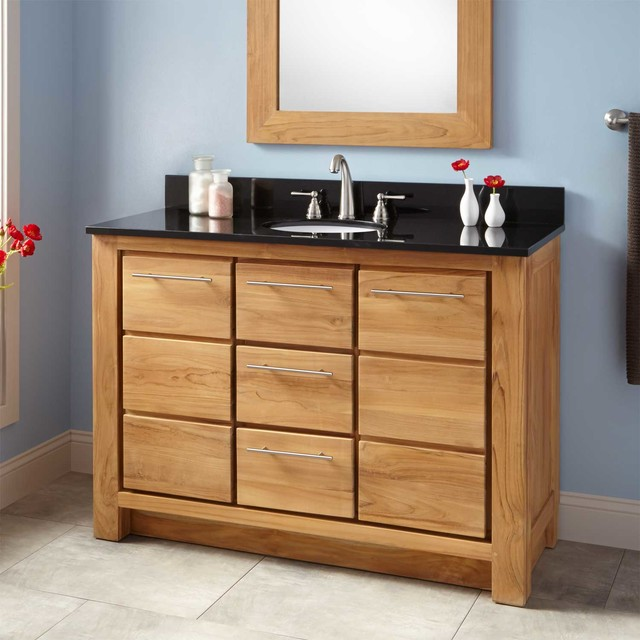 48 Narrow Depth Venica Teak Vanity For Undermount Sink Transitional