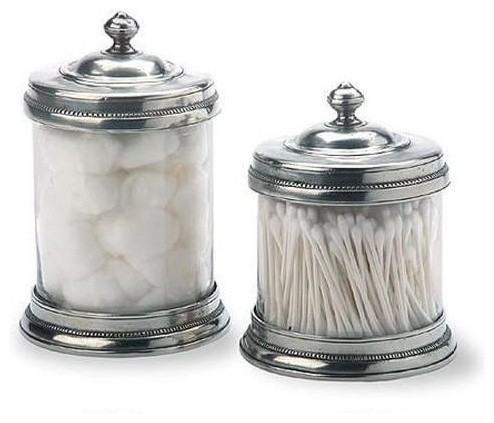 and glass canisters by match of italy eclectic bathroom accessories