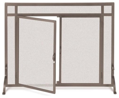 Flat Bronze Finish Fireplace Screen w Doors 39 in Width