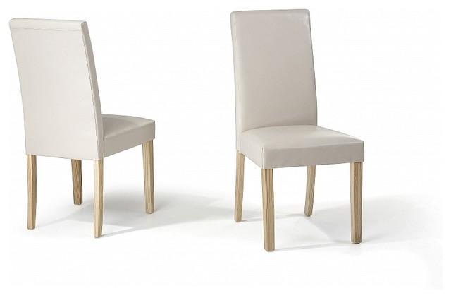 Chaises de salle manger lot de 2 chaises en cuir beige broadway con - Chaise en cuir beige ...