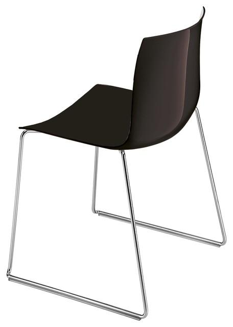 Catifa 46 Stuhl Mit Kufen Einfarbig Schwarz