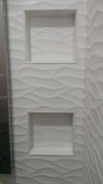 MASTER BATHROOM Large Wave Tile Shower Penny Wainscot Ikea Cabinets Modern Austin