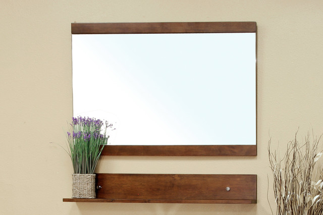 bellaterra 203138 solid wood frame mirror cabinet walnut