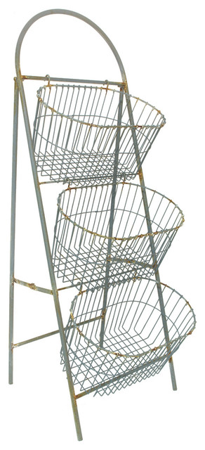 Three Tier Metal Wire Basket Set Storage Organization Decor - Rustic - Baskets - by GwG Outlet