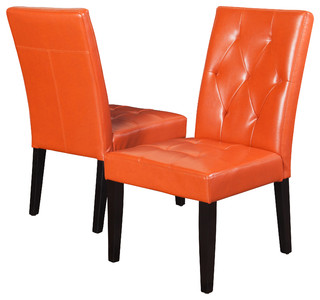 Dacey Fabric Dining Chair Set Of 2 Orange Leather Contemporary Dining