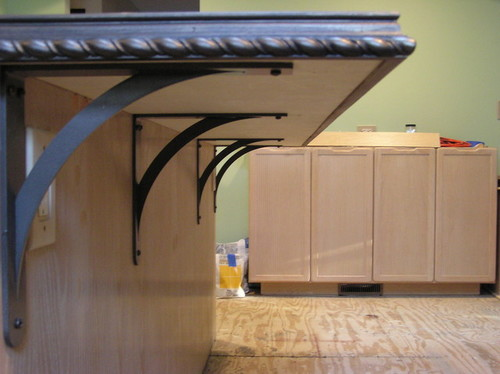 Supporting a granite overhang for Granite overhang
