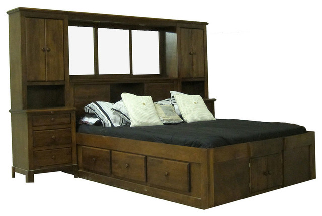 Shaker Queen Pier Wall And Platform Bed Queen Natural Alder Transitional Bedroom Furniture