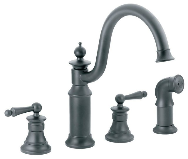 Moen Waterhill 2 Handle Kitchen Faucet Wrought Iron Farmhouse Kitchen Fa