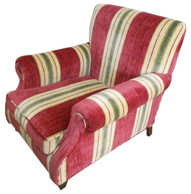 Custom Upholstered Chair In Red Stripe Traditional Living Room Chairs B