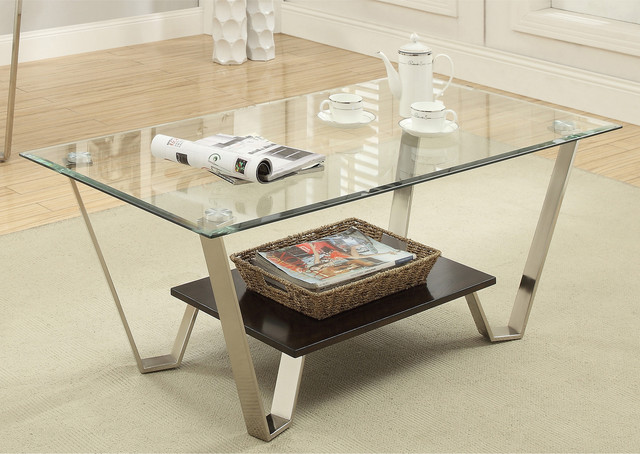 Furniture of america bilzy contemporary tempered glass for Tempered glass coffee table