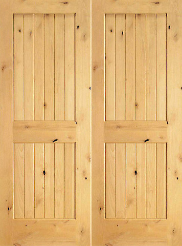 S w 96 interior knotty alder wood 2 panel v grooved double for Interior 96 doors