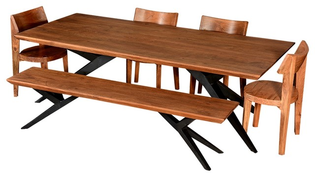 Industrial Dining Table Set: Modern Rustic Spyder Loft Industrial Dining Table & Chair