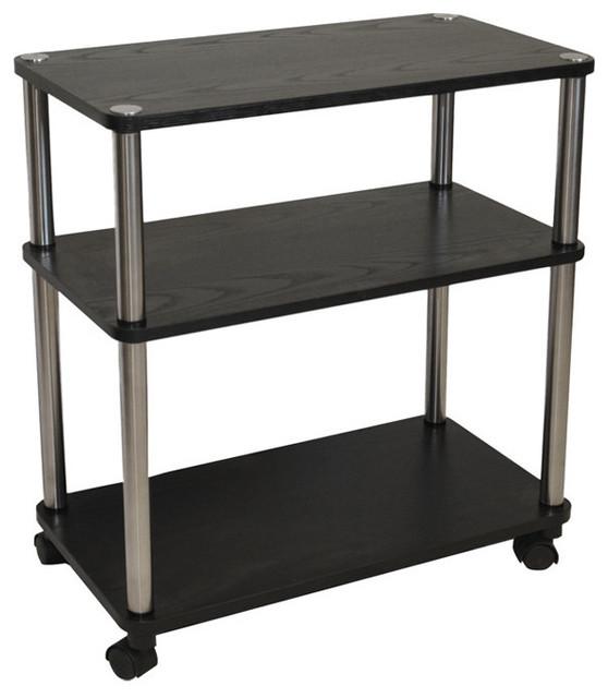 3 Shelf Mobile Home Office Caddy Printer Stand Cart Black