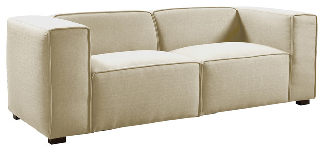 modern sofa linen overstuffed seat cushion with wide track. Black Bedroom Furniture Sets. Home Design Ideas