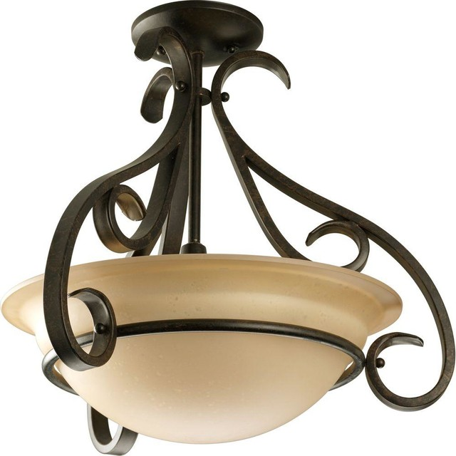 Progress Lighting Torino Collection 3 Light Forged Bronze Semi Flush Mount Tr