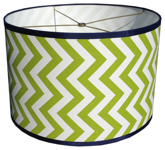 drum lamp shade green and white chevron with navy blue. Black Bedroom Furniture Sets. Home Design Ideas