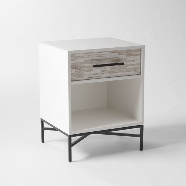 Wood Tiled Bedside Table Beach Style Nightstands And