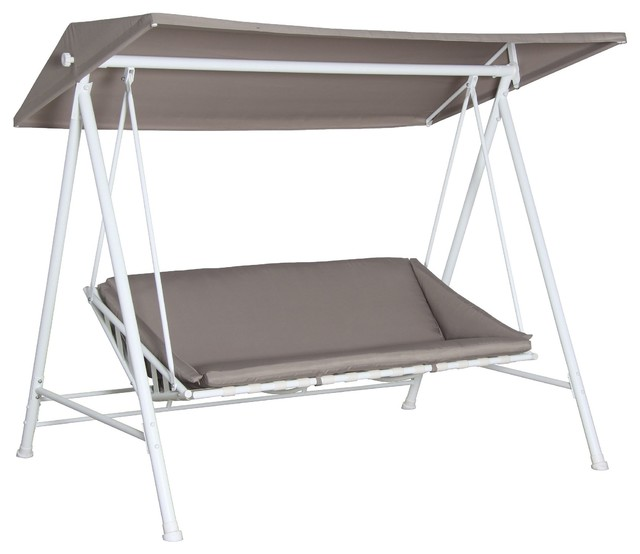 Janeiro Metal Swing Bench Contemporary Outdoor Benches Other Metro By B Q