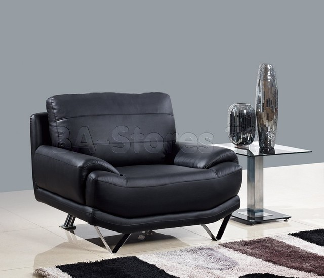 Black bonded leather chair with v styled front legs for Black front room furniture