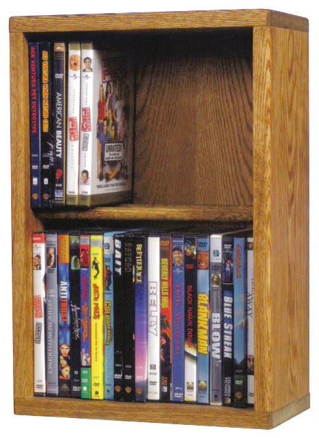 Solid Oak 2 Row Dowel Cd/Dvd Cabinet Tower - Modern - Media Racks And ...