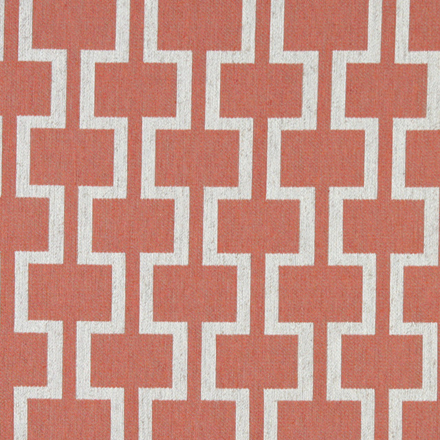 Persimmon and Off White Contemporary Geometric Is