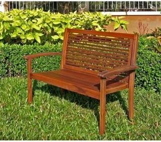 International Caravan Contempo Wood Patio Bench Modern Garden Benches B