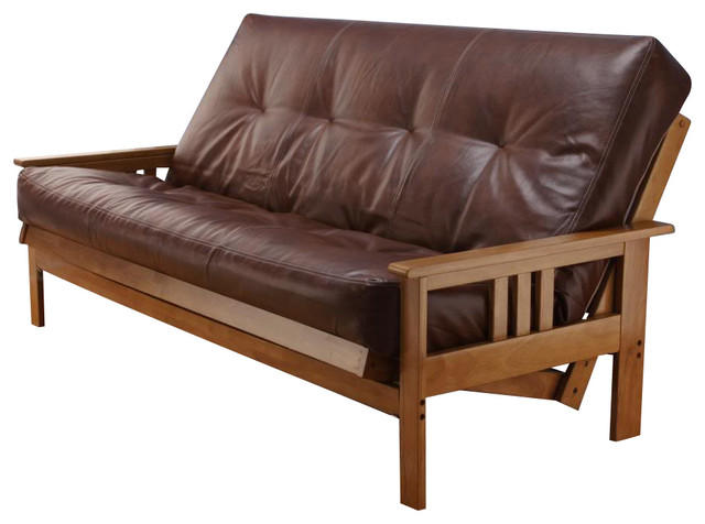 Andover full size futon sofa bed honey oak wood frame for Wooden frame futon sofa bed