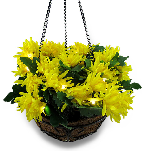 Hanging Flower Baskets With Lights : Yellow mums bouquet in hanging basket w led lights