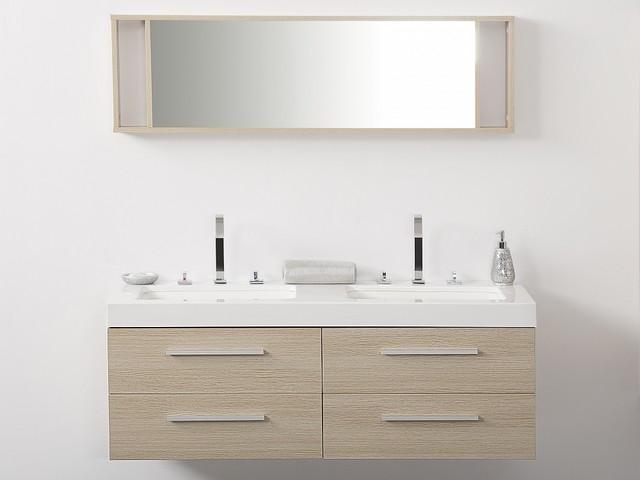 Meuble double vasque tiroirs miroir inclus beige for Miroir 120x40
