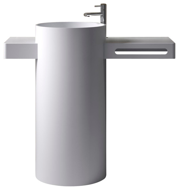ADM Free Standing Stone Resin Pedestal Sink - Modern - Bathroom Sinks - by ADM Bathroom Design