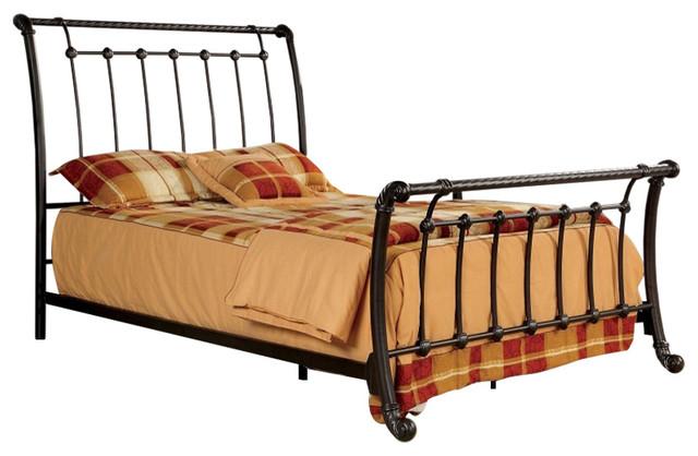 Rope twist design brushed bronze full size metal bed frame for Rope bed frame