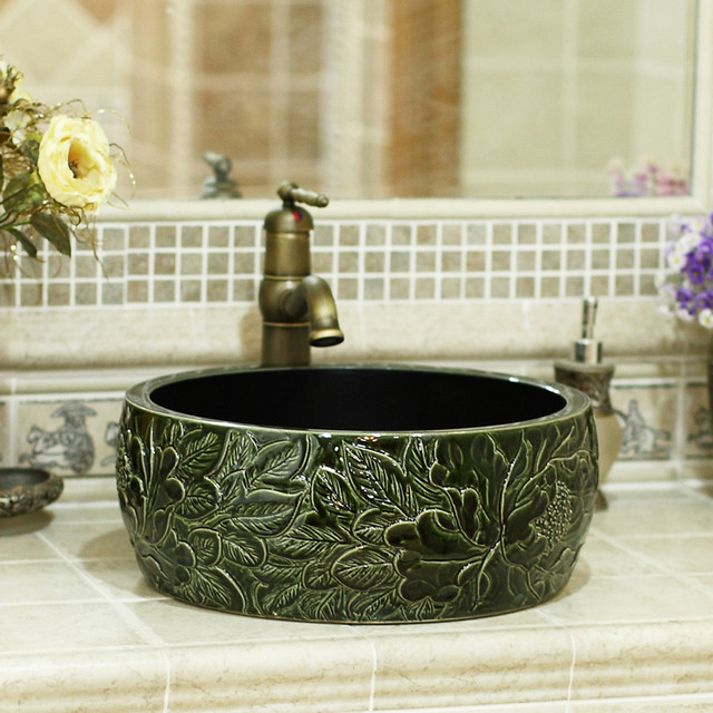 Country Bathroom Sinks : Hand-carved peony bathroom washbasin - Country - Bathroom Sinks ...