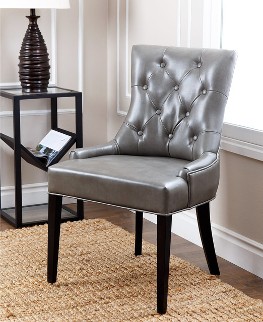 grey leather tufted dining chair contemporary dining chairs by