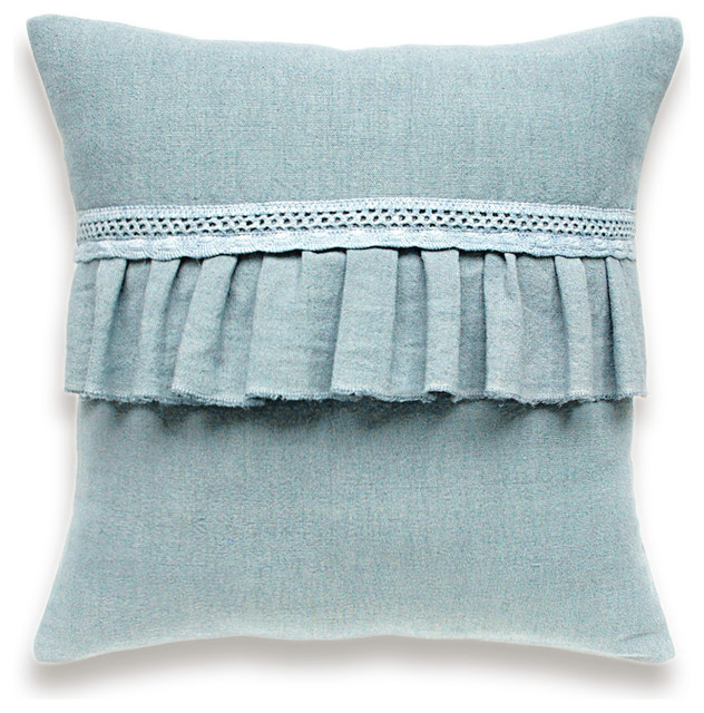 Hand Dyed Linen Pillow with Ruffle and Lace Trim In Blue 16 inch Decorative Cush