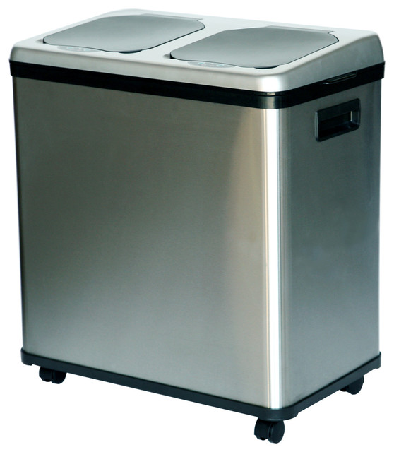 Dual Compartment Sensor Recycle Trash Can Stainless Steel 16 Gallon Modern Kitchen Tidy
