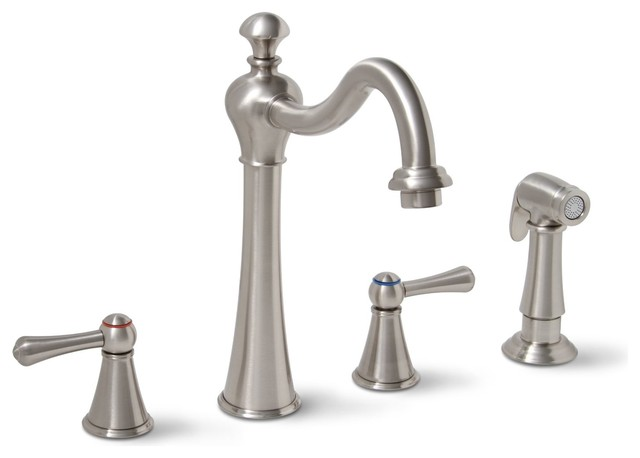 sonoma widespread two handle kitchen faucet brushed. Black Bedroom Furniture Sets. Home Design Ideas