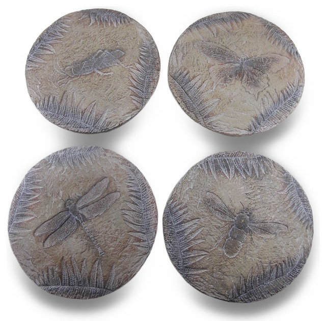Insect themed decorative debossed cement stepping stones for Decorative garden stones