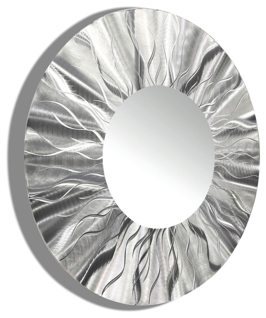 contemporary silver round wall mirror large wall mirror modern metal wall art contemporary
