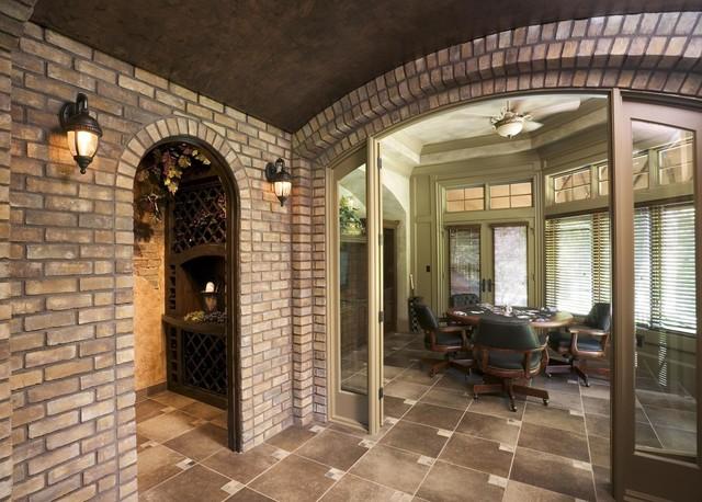 Brick archway traditional hall by eldorado stone for Eldorado stone outdoor kitchen cabinet