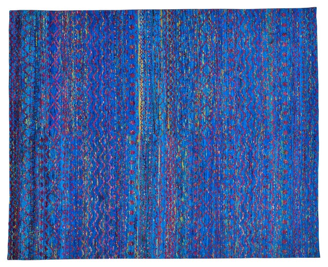 colorful modern sari silk zero pile rug knotted sh22947 contemporary area rugs