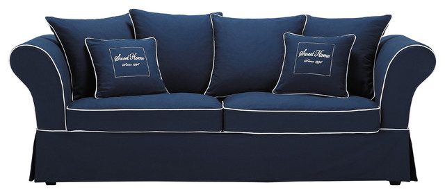 Canap 3 4 places en coton bleu sweet home for Canape jonc de mer