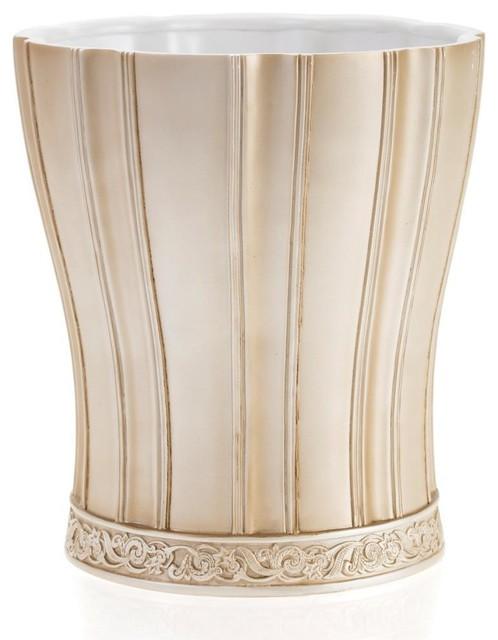 Victoria striped beige wastebasket contemporary bins for Beige bathroom bin