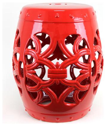 Red Ceramic Garden Stool Contemporary Outdoor Decor